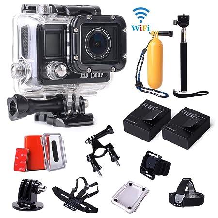 XCSOURCE® Full HD WiFi 14MP 1080P 720P Casque de Vélo Sports Action Caméra Helmet Cam + Accessoires Kit Super + 2 X Batterie Supplémentaire Kit LF588