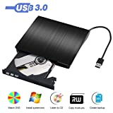 External DVD Drive, USB 3.0 External CD Drive, CD/DVD-RW Drive, CD-RW Re-writer Burner Super-drive For High Speed Data Transfer for Notebook PC Computer Support Windows 7, 8, 10, Mac OSX (Black)