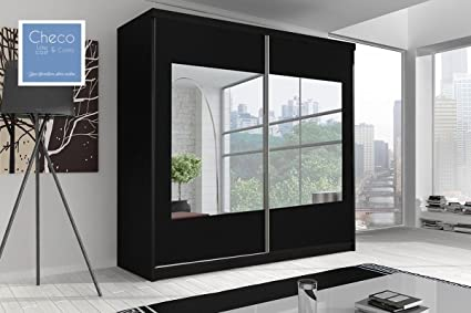 SLIDING DOOR WARDROBE 6ft 8in (203cm) 'REFLECTION' MULTI F03 BLACK