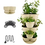 Amazing Creation Stackable Planter Vertical Garden for Growing Strawberries, Herbs, Flowers, Vegetables and Succulents| Indoor/Outdoor 5 Tier Gardening Tower| Hanging Planter (Off-White) (Color: Off-White)