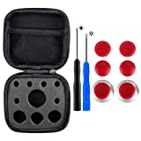 eXtremeRate 4 in 1 Metal Magnetic Thumbsticks Analogue Joysticks T8H Cross Screwdrivers Replacement Repair Kits With Storage Case for Xbox One S Elite PS4 Slim Pro Nintendo Switch Pro Controller Red