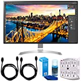 LG 32UD89-W 32-Inch Class 4K UHD IPS LED Monitor w/USB Type-C (2017) + Accessories Bundle Includes, 2 x 6ft. HDMI Cable, SurgePro 6-Outlet Surge Adapter w/Night Light & Screen Cleaner For LED TVs