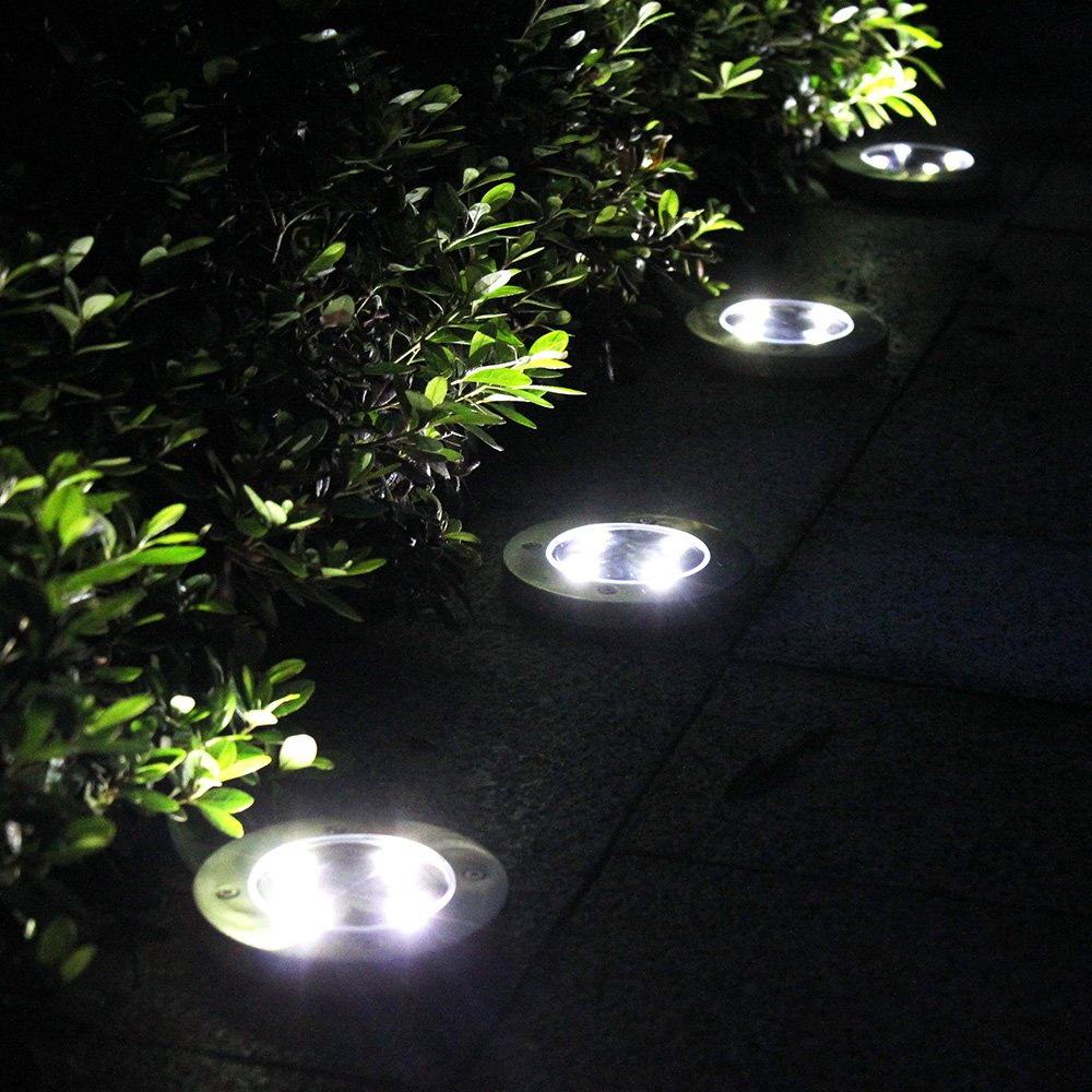 Outdoor Ground Lights Tomshine 4pcs 4 led solar lights outdoor ground lights water solar lights outdoor ground lights water resistant path workwithnaturefo