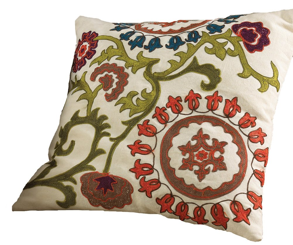 Decorative Throw Pillow: Mai Na Elegant Floral Embroidered Throw Cotton Pillow