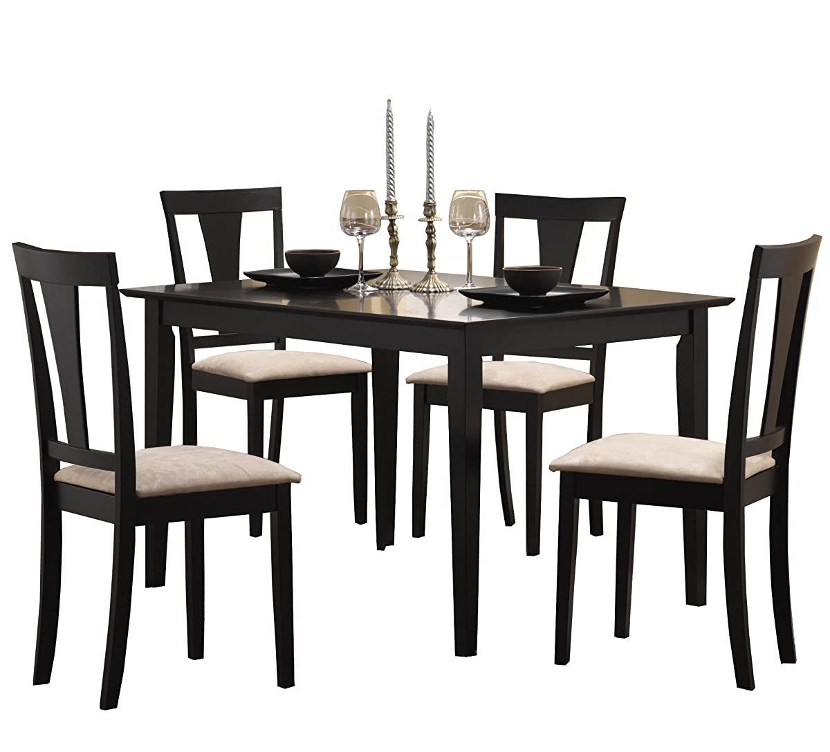 Casual Dining Tables And Chairs: Coaster 5pc Casual Dining Table And Chairs Set In Black Finish