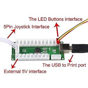 EG STARTS Zero Delay USB Encoder to PC LED Joystick Set Compatible LED Arcade Joystick DIY Kit Controller Part Mame Games (5Pin Cable + 10x 3Pin 2.8mm Wire)