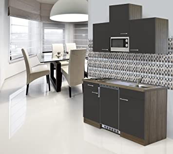 respekta Fitted Kitchen Kitchenette 150 CM Grey Oak Imitation CERAN