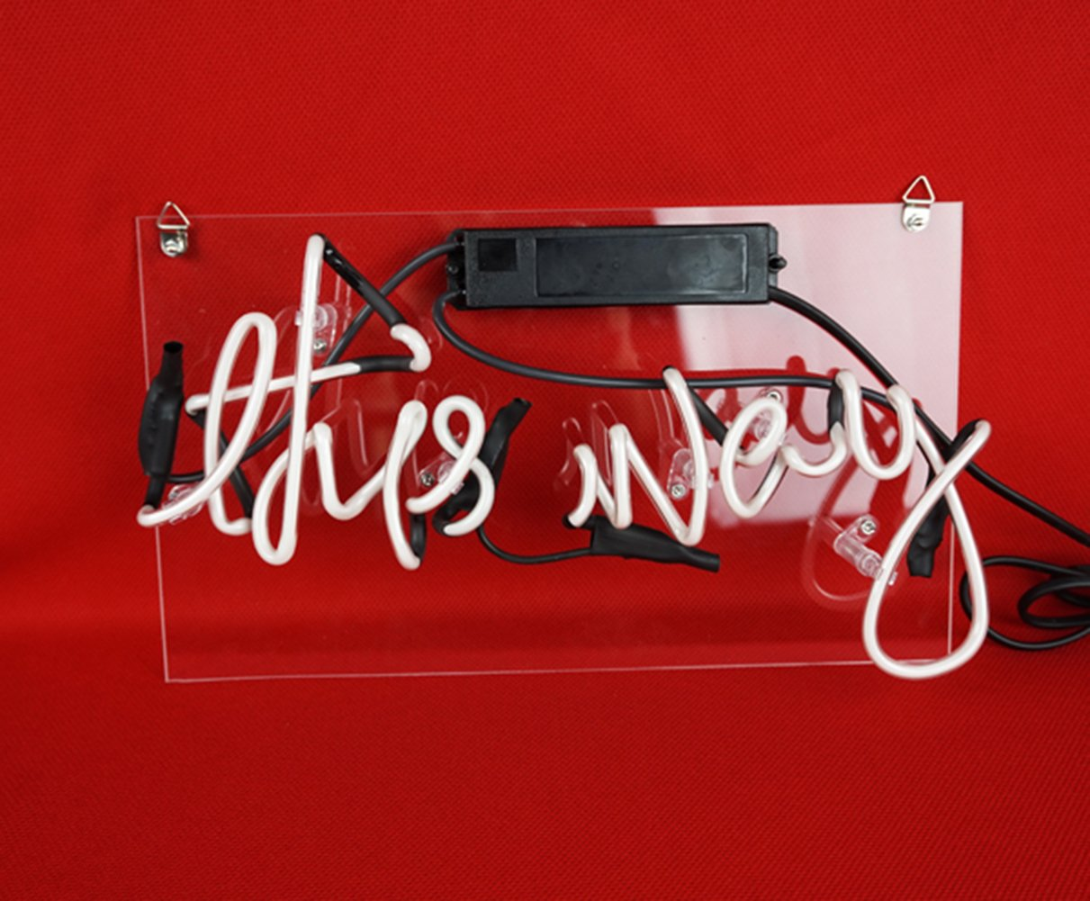 Led Neon Sign Arrow Pink 'This Way' 12.6