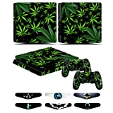 PS4 Slim Controller Skins- Decals for Playstation 4 Slim Games - Stickers Cover for PS4 Slim Console Sony Playstation Four Accessories with Dualshock 4 Two Controllers Skin - Weeds Black (Color: Weeds Black)