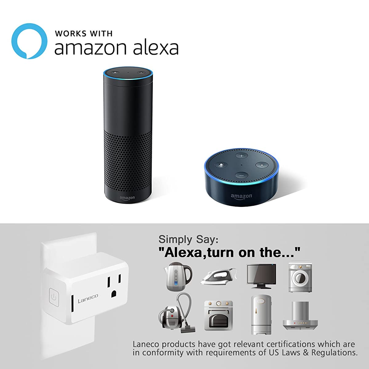 WiFi Smart Plug (2 Pack), Laneco Mini Wireless smart socket Outlet with Timing Function, Control Your Devices from Anywhere Via Free APP, Works with Amazon Alexa, No Hub Required