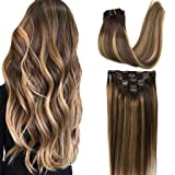 GOO GOO Human Hair Extensions Clip in Ombre Chocolate Brown to Caramel Blonde 14 inch 7pcs 120g Straight Remy Clip in Hair Extensions Real Natural Hair Extensions (Color: Ombre Chocolate Brown to Caramel Blonde #4/27/4, Tamaño: 14 Inch)