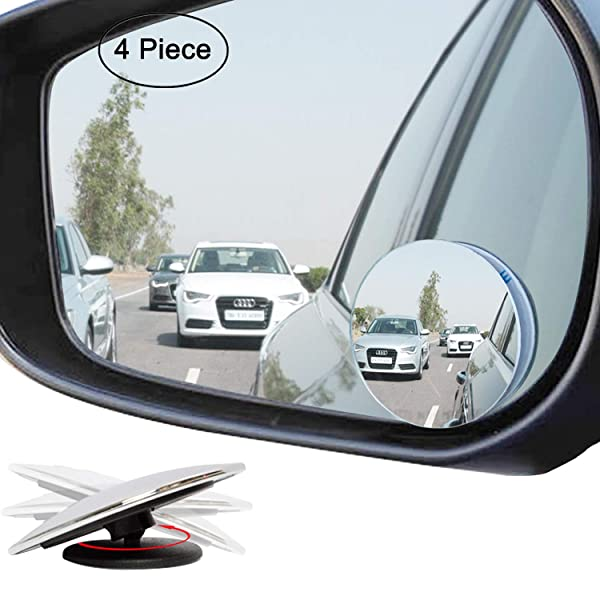 Frameless 360 Degree Adjustabe HD Glass Convex Wide Angle Rear View Car SUV Stick On Lens Ampper Slender Blind Spot Mirrors Pack of 2
