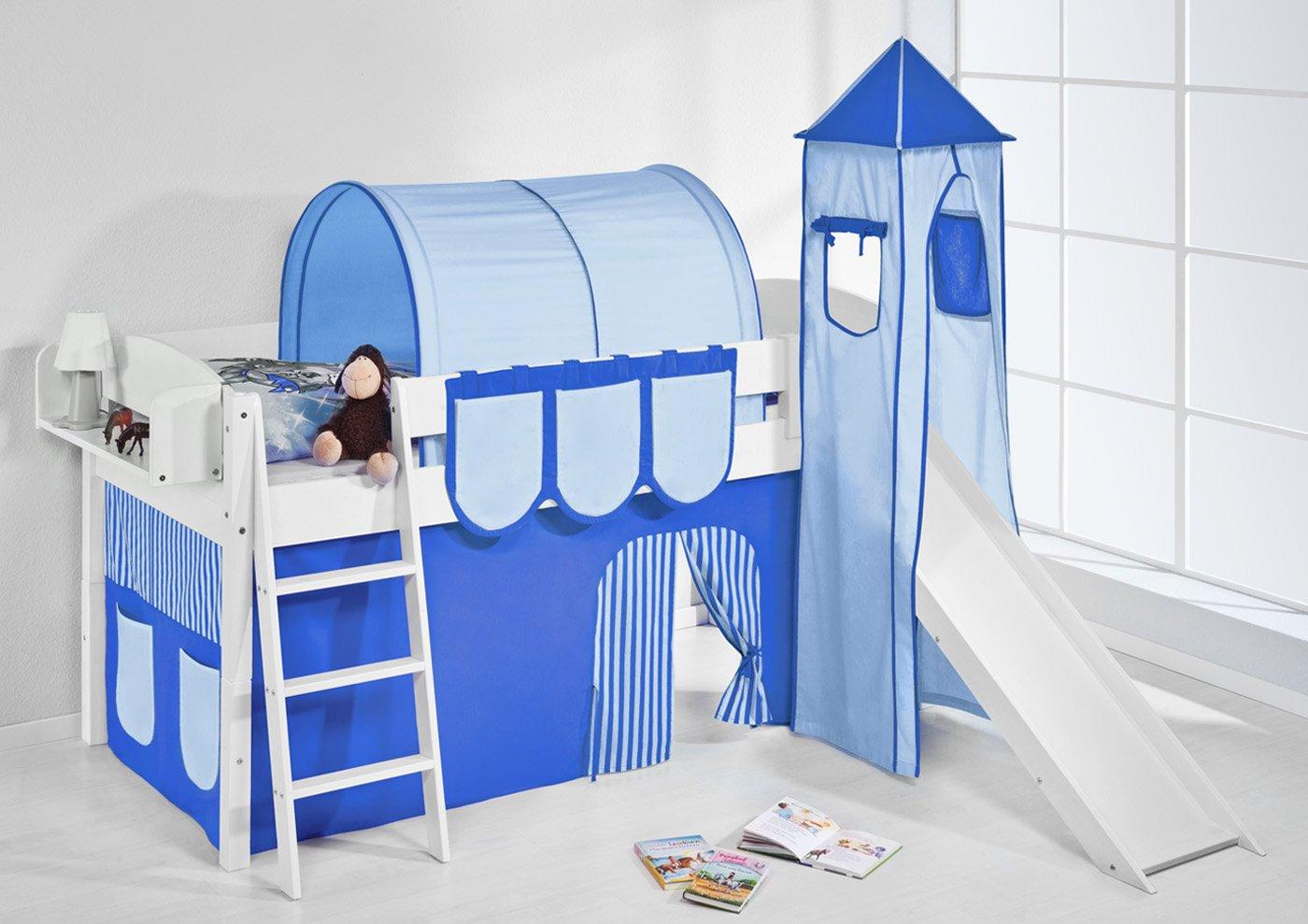 Spielbett IDA 4105 Blau Lilokids Teilbares Systemhochbett LILOKIDS weiß mit Turm Rutsche und Vorhang blau Weiß kiefer online kaufen