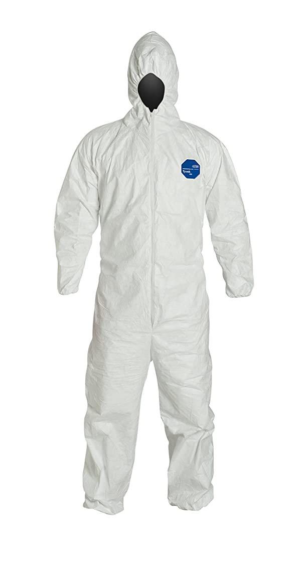 DuPont Tyvek 400 TY127S NAFTA Sourced Disposable Protective Coverall with Respirator-Fit Hood and Elastic Cuff, White, Medium (Pack of 25) (Color: White, Tamaño: Medium)