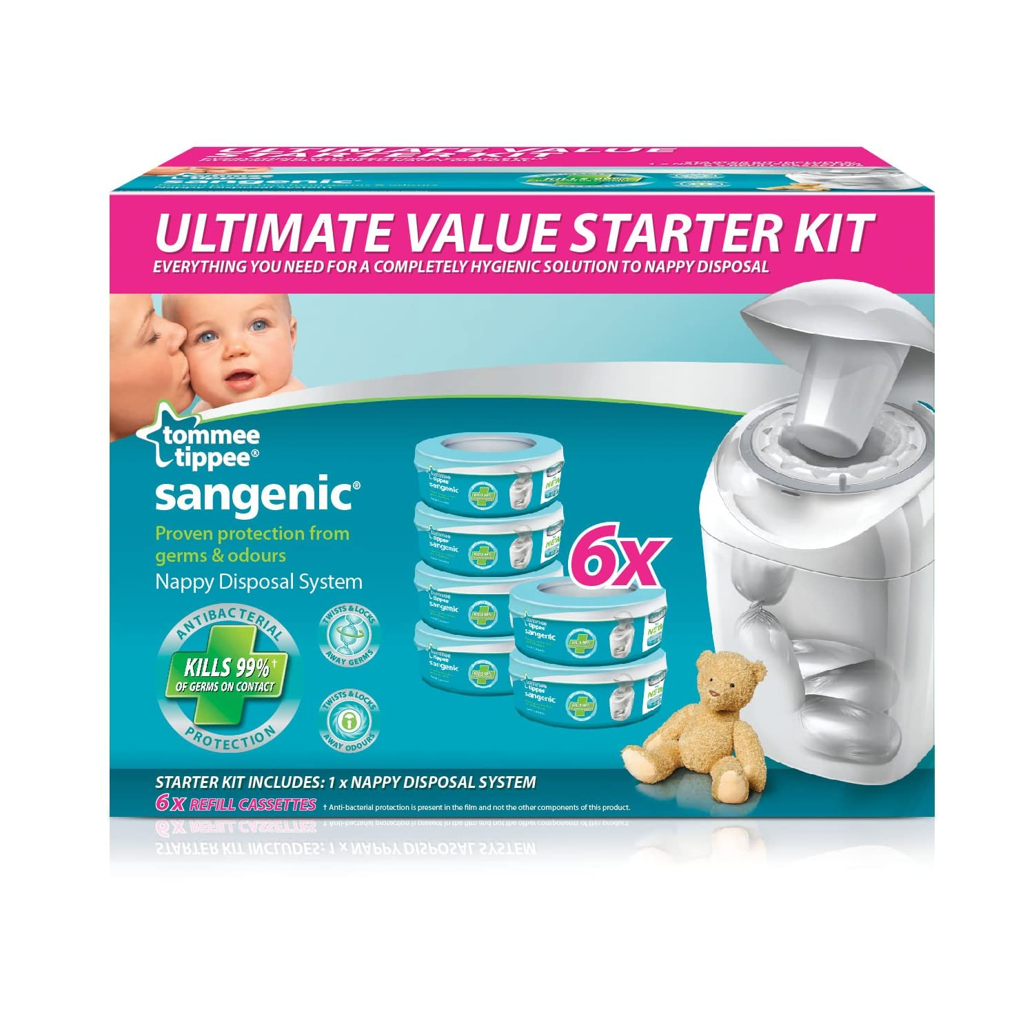 tommee tippee sangenic nappy disposal starter pack. Black Bedroom Furniture Sets. Home Design Ideas