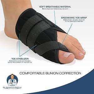Dr. Frederick's Original Nighttime Bunion Splints - 2 Double-Stitched Velcro Bunion Correctors - Bunion Relief for Bedtime - for Men & Women