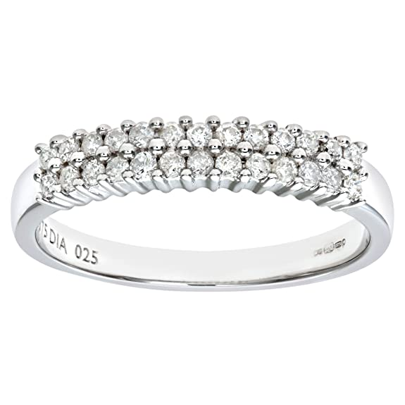 Naava 9ct White Gold Diamond 2 Row Eternity Ladies Ring