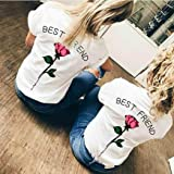 Gyouandme Women T-Shirt Short Tank Tops Best Friend Letters Rose Printed T Shirts Causal Blouses Tops (2XL, Hot Pink) (Color: Hot Pink, Tamaño: XX-Large)