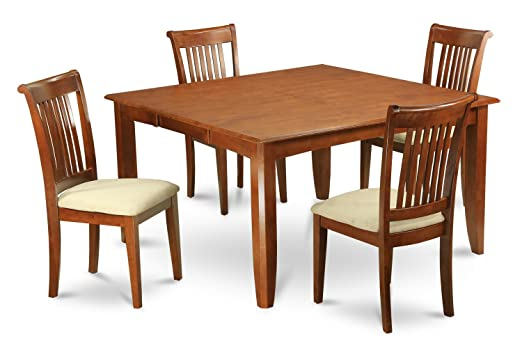 East West Furniture PFPO5-SBR-W 5-Piece Dining Table Set