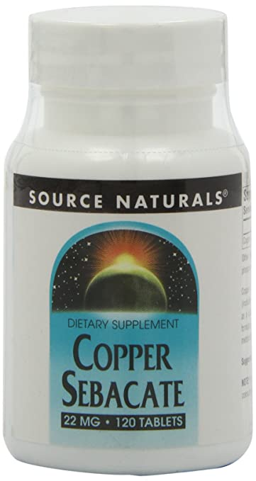Source Naturals Copper Sebacate 22mg, 120 Tablets