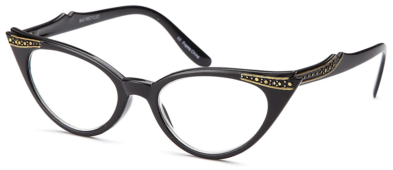GAMMA RAY READERS 3 Pairs Ladies' Vintage Cat Eye Readers Quality Reading Glasses for Women - With +2.00 Magnification 1