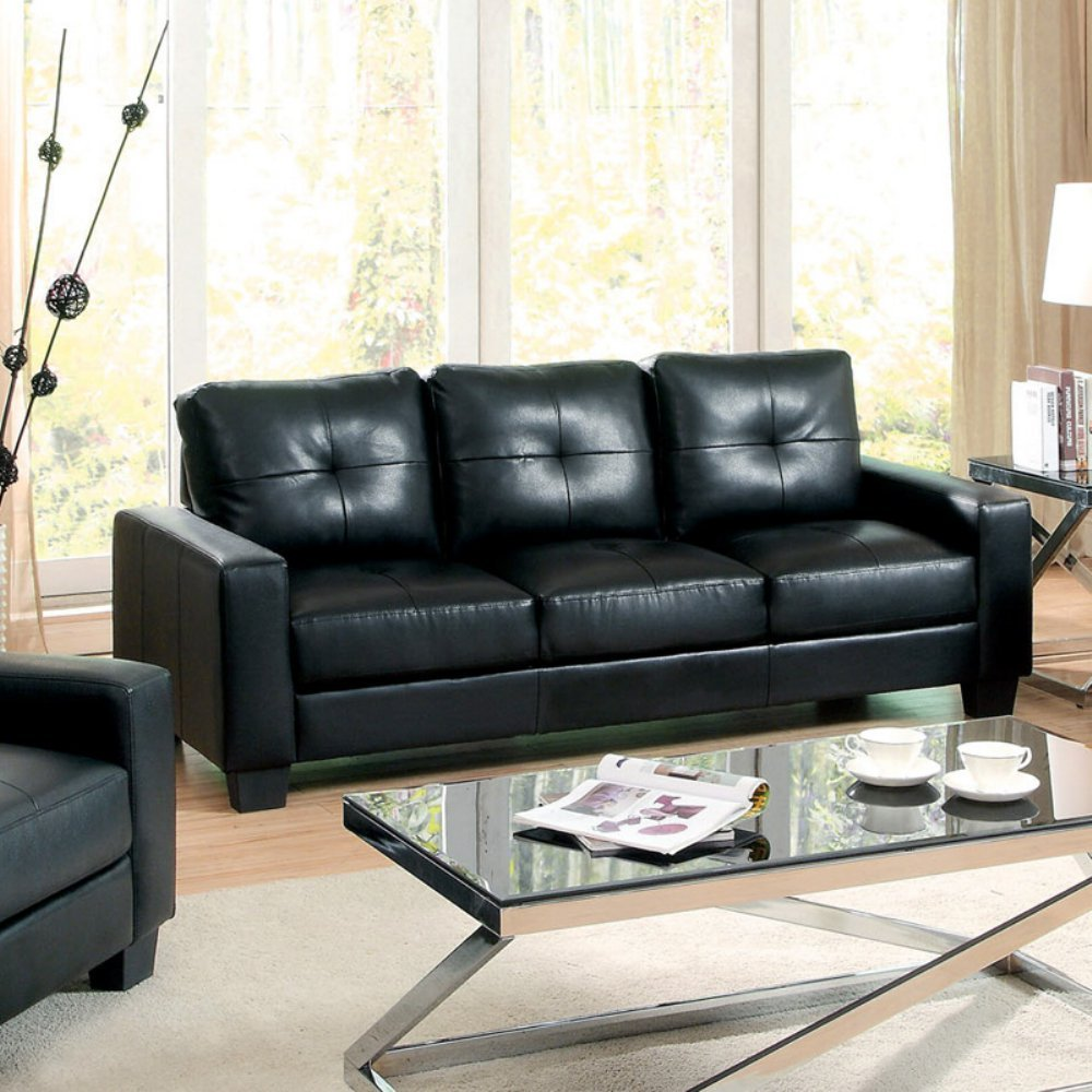 Furniture of America Renwick Bonded Leather Match Sofa -
