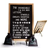 Black Felt Letter Board With Easel Stand 12 x 16 | 718 Changeable Characters Including 1 inch and ¾ Letters, Symbols, Emojis Hashtag And More | Hook To Hang | 2x Canvas Storage Pouches (Tamaño: 12 x 16)