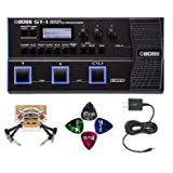 BOSS GT-1 Guitar Multi-Effects Processor BUNDLED WITH BOSS Tone Studio, Blucoil 9V DC Power Supply, 2 Pack of Pedal Patch Cables AND 4-Pack of Celluloid Guitar Picks