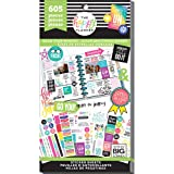 me & my BIG ideas Sticker Value Pack for Classic Planner - The Happy Planner Scrapbooking Supplies - Gold Star Quotes Theme - Multi-Color & Gold Foil - Projects & Albums - 30 Sheets, 605 Stickers (Color: Gold Star Quote)