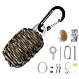 The Friendly Swede Carabiner Grenade Survival Kit in Paracord with Eye Knife (Color: Army Green Camo)