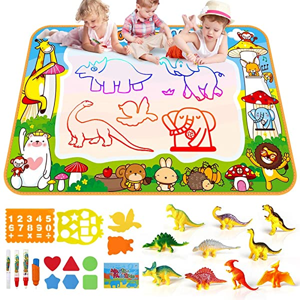 Toddler Drawing Mat Mess Free Coloring Painting with 10 Cartoon Dinosaurs SmilePowo Aqua Magic Doodle Educational Kids Toys Birthday Christmas Gift for Toddlers Boys Girls (Color: Type 1)