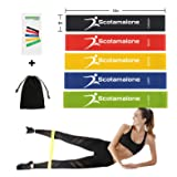 Scotamalone Resistance Exercise Loop Bands for Workout,Home Fitness, Stretching, Physical Therapy and More - Includes Instruction Manual and Carry Bag,Set of 5-12-inch (Color: 5 bands, Tamaño: 12 Inch)