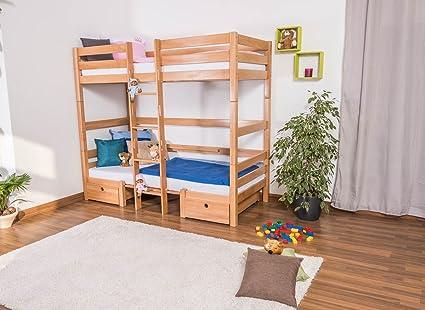 Kinderbett / Etagenbett / Funktionsbett Tim (umbaubar zu einem Tisch mit Bänken oder zu 2 Massivholzbetten) Buche massiv natur inkl. Rollrost - 90 x 200 cm