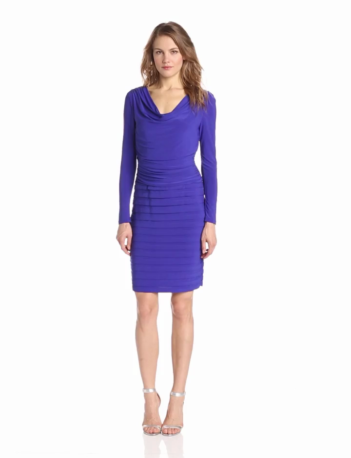 Adrianna Papell Womens Long Sleeve Ruched Banded Dress