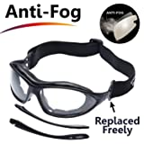 SAFEYEAR Anti Fog Safety Glasses- SG002 Clear Scratch Resistant Work Glasses for Men and Women No-Slip Grips, VU Protection Safety Goggles for DIY, Lab, Welding, Grinding, Chemistry (Color: Black)