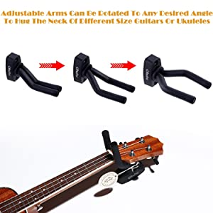 Ohuhu Guitar Hanger 2-Pack Hook Wall Mount Guitar Stand Keeper Holder For Acoustic Electric Guitars (Color: Black)