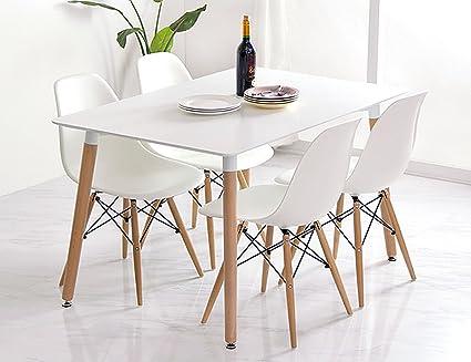 Conjunto de comedor mesa lacada blanca y 4 sillas Tower 120x80 (Blanco)