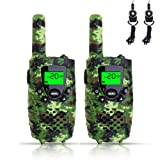 FAYOGOO Kids Walkie Talkies, 22-Channel FRS/GMRS Radio, 3-Mile Range Two Way Radios with Flashlight and LCD Screen-Best Gifts and Toys for Boys, Camo Green (Color: Camo Green)