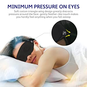 Mavogel Cotton Sleep Eye Mask - Updated Design Light Blocking Sleep Mask, Soft and Comfortable Night Eye Mask for Men Women, Eye Blinder for Travel/Sleeping/Shift Work, Includes Travel Pouch, Black (Color: Black, Tamaño: One Strap)