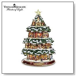Thomas Kinkade City Sidewalks Animated Tabletop Christmas Tree