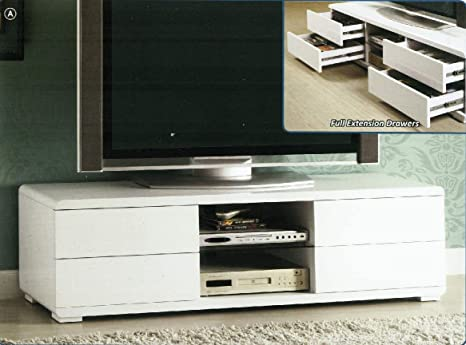 Cerro Contemporary Style Glossy White Finish TV Stand Console