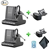 Plantronics Savi W730 Multi Device Wireless Headsets (83543-11) 2 Pack - Bundle with 2X Plantronics HL10 Handset Lifters (Tamaño: 2-Pack)