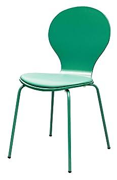 Tenzo 610-057 Flower conjunto de 4, sillas de diseño, 87 x 46 x 57 cm, madera contrachapada lacada en mate, aspecto parecido al cuero, pie de metal, lacado, jade