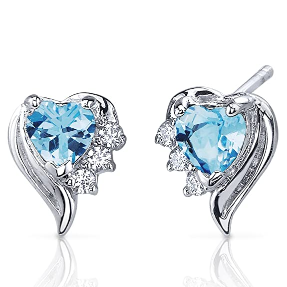Peora Cupids Grace 1.00 Carats Swiss Blue Topaz Heart Shape Cubic Zirconia Earrings in Sterling Silver Rhodium Finish