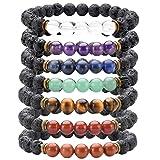 Top Plaza 7 Chakra Healing Bracelet with Real Stones, Lava Diffuser, Mala Meditation Mens Womens Religious Stretch Bracelets - Protection, Energy, Healing, Aromatherapy(7 Chakras Set) (Color: 7 Chakras Set)