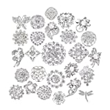 Lot 25pcs bridal and wedding brooch button bouquet kit set