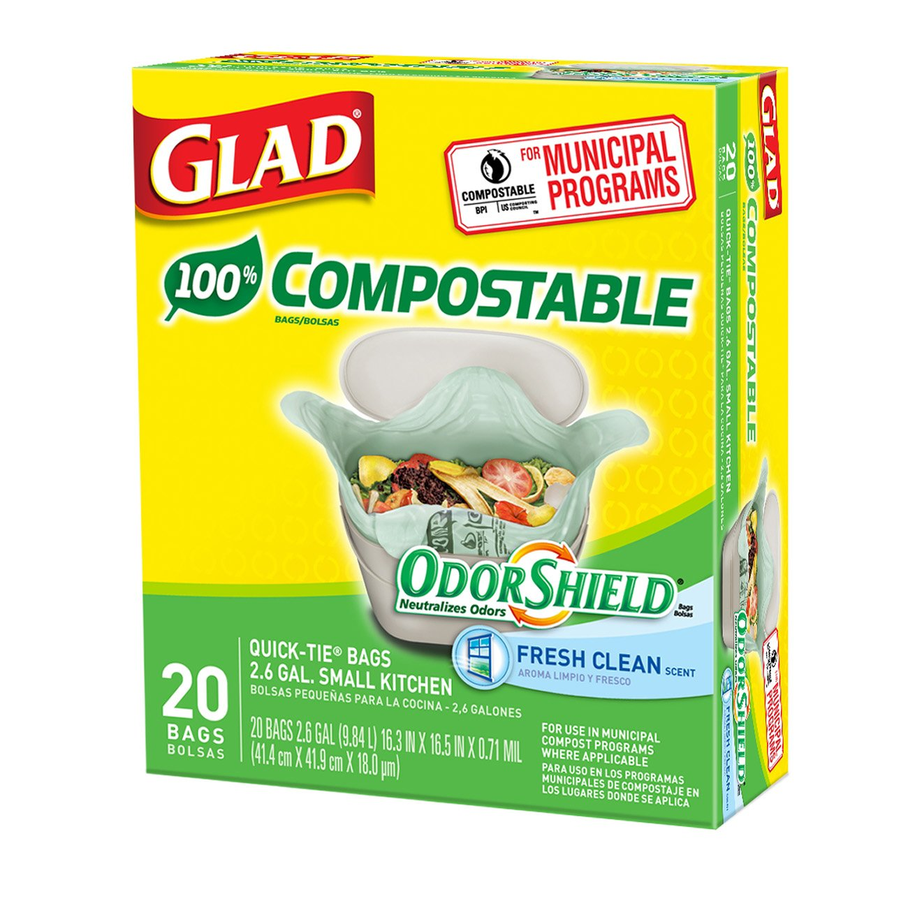 Glad Odorshield Small Kitchen Compostable Trash Bags 2 6 Gallon 20 Count Pack Ebay