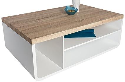 HL Design 01-03-113.1 Couchtisch Chris Tischplatte Sanremo Sand, Rahmen, Rollen verdeckt, 110 x 70 x 40 cm, Ablage lack weiß hochglanz