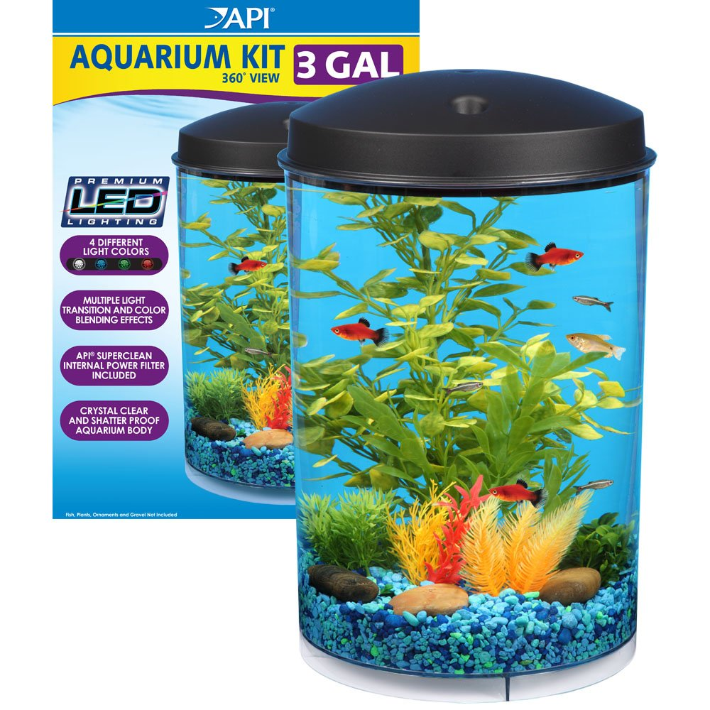 KollerCraft API Aquaview 360 Aquarium Kit with LED Lighting and Internal Power Filter, 3-Gallon