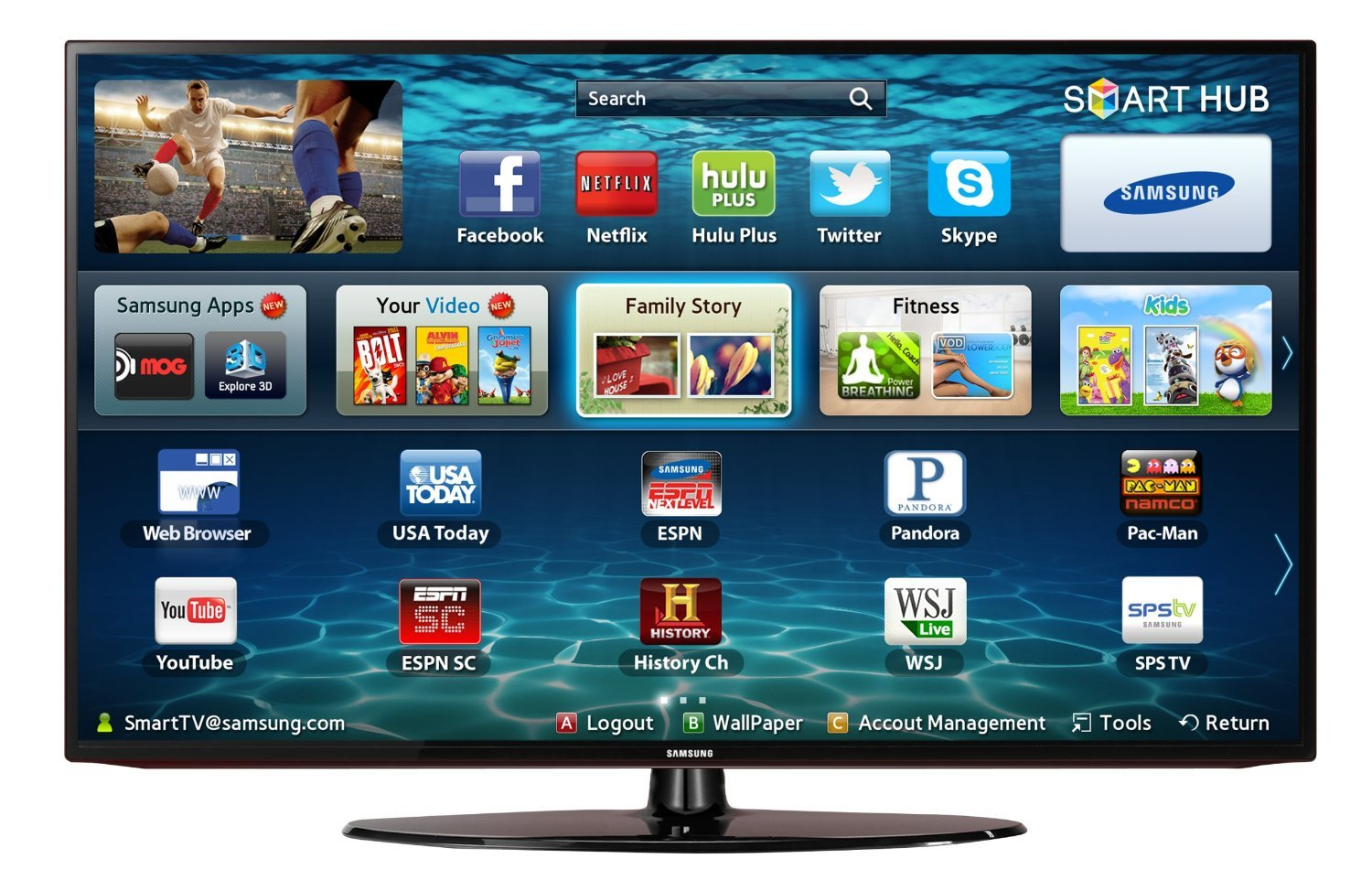 Samsung UN32EH5300 32-Inch 1080p 60 Hz Smart LED HDTV (Black) $297.99